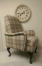 Shabby Chic Cou ntry Cottage Small Bedroom Armchair Cream/Latte Tartan Check