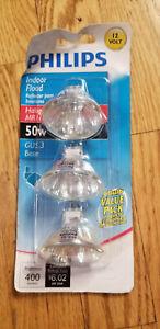 NEW Philips 415802 Landscape/Indoor Flood 50W MR16 12-Volt Light Bulb, 3-Pack
