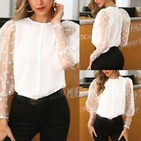 1pc Women's Polka Dot Sheer Mesh Long Puff Sleeve Shirt Tops Loose Casual Blouse