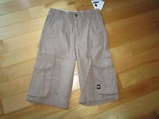 Youth Boys Size 12  MAMBO Khaki Skater Cargo Long Shorts Adjustable Waist Cotton