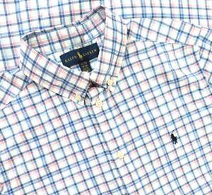 Ralph Lauren Polo Button Up Shirt Boy XL 18-20 Blue White Pink Plaid Long Sleeve