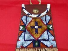 Beaded Strike A Lite Bag Sioux Style with tin cone fringe Mint Condition