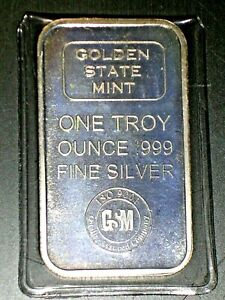 Silver 1 OZ Fine Silver Bar  .999 Fine Golden State Mint in Sealed Packet