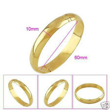 Smooth 24k Yellow Gold Filled Lady's Bracelet GF Womens Openable 60mm Bangle