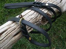 "BLACK  LEATHER DOG SLIP LEASH COLLAR COMBO 1/2"" X 78"" INC. COLLAR BRASS RING"
