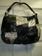 Black White Gray Silver Faux Leather Patch Tote Shopper Handbag Purse New
