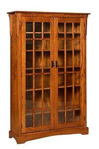 "Amish Walker Mission Craftsman Solid Wood Bookcase 2-Glass Door 46""w x 72""h"