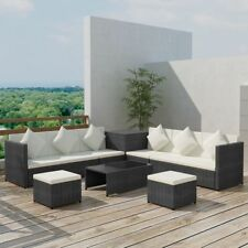 vidaXL Garden Sofa Set 26 Pieces Poly Rattan Black Outdoor Patio Couch Lounge