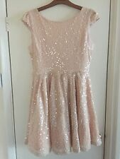 Topshop Nude Sequin Open Back Party Dress