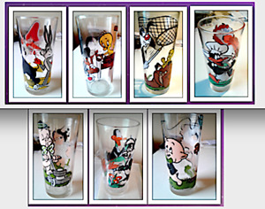 1976 TACO BELL LOONEY TUNES PEPSI GLASSES (7) ALL ORIGINAL & SERIAL NUMBERED NEW