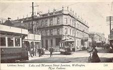 WELLINGTON, NEW ZEALAND, CUBA & MANNERS STS JUNCTION, TROLLEYS, PEOPLE c. 1902
