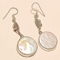 Real Fresh Water keshi Biwa Pearl Earrings 925 Sterling Silver Christmas Jewelry