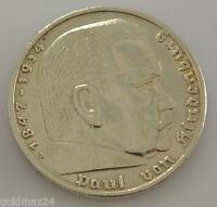 Drittes Reich 5 Reichsmark Silbermünze 1936 A - Hindenburg ohne HK