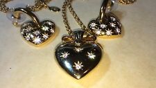 "Joan Rivers Heart Necklace w/Crystals 28"" Chain & Stud Earrings"