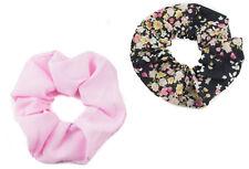 Soft Light Fabric Hair Scrunchies Set of 2 Floral Print & Plain Pink Scrunchy