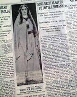 KIRSTEN FLAGSTAD Norwegian Opera Singer as Isolde at MET w/ Photo 1933 Newspaper