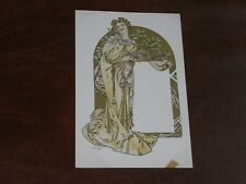ORIGINAL ALPHONSE MUCHA SIGNED ART NOUVEAU GLAMOUR POSTCARD, DESIGN FOR CALENDAR