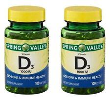 Lot of 2 Spring Valley Vitamin D3 1000 IU Pills 200Softgels Total