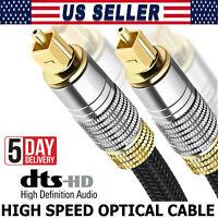 Toslink Digital Fiber Optic Optical Audio Cable SPDIF Dolby DTS 6FT 16FT - 32FT