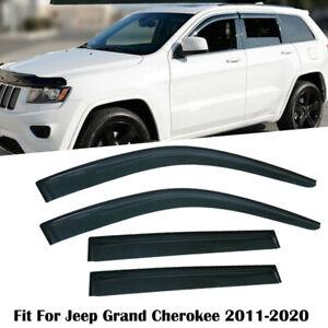 For 11-20 Jeep Grand Cherokee Smoke Window Visors Shades  Visor Rain Guards Trim