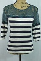 Anthropologie DELETTA XS Lace Tee Cotton Striped Sheer Lace Insert Panel Blue