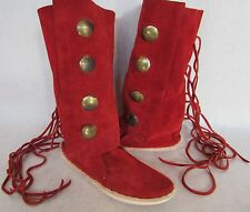 Native American Handmade Red  Leather Suede Concho Fringed Boots Sz 7