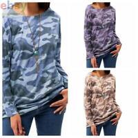 Women Multi  T-Shirt Outdoor  Tops Camo  cotton Long Sleeve  chunky Tee