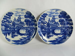 Vintage Blue Willow Japan Set 2 Side Plates 19 cm VGC