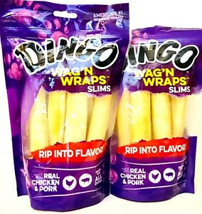 2 Bags Dingo 9 Oz Wag'N Wraps Slims Real Chicken & Pork 8 Pack Snack For All Dog
