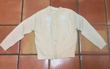 VINTAGE 1950's IVORY BEADED CARDIGAN LAMBSWOOL SWEATER M
