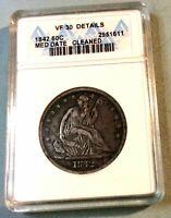1842 Seated Half Dollar VF Medium Date ANACS