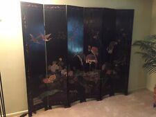 Vintage 6-panel Asian / Oriental room divider screen black BEAUTIFUL