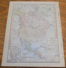 1885 Antique Map ///  NORTH AMERICA