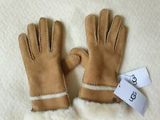 Ugg Australia Women's SEAMED TECH GLOVES SHEEPSK SUEDE CHESTNUT S- BNWT