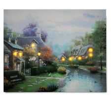 LED Village Landscape Lighted Canvas Print Art Painting Picture Home Wall Decor