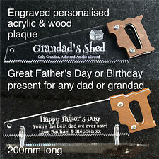 Personalised Fathers Day Gift Birthday Dad Grandad Daddy Present Hand Saw Plaque