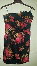 Miss Selfridge Floral Print Black Party Dress Size 10. LBD. Strapless. Christmas