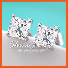 18K WHITE GOLD GF PRINCESS 1CT Simulated Diamond SOLID MENS WOMENS STUD EARRINGS