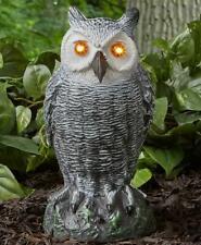 MOTION SENSOR LIGHT AND SOUND OWL GARDEN YARD LAWN SCULPTURE STATUE