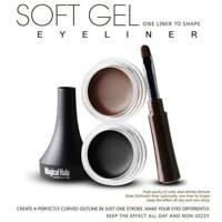 Makeup Eye Liner Cream Eyeliner Eye Waterproof Shadow Gel Brush Tool Cosmetics~