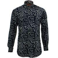 Mens Shirt Loud Originals TAILORED FIT Geometric Black Retro Psychedelic Fancy