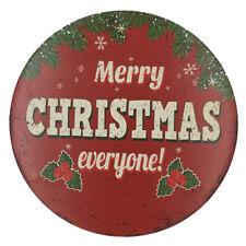 Round Tin Sign Plaque Pub Poster Home Vintage Tavern Shop Merry CHRISTMAS