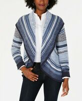 Size PM, Charter Club Womens Petite Shawl-Collar Open-Front Cardigan Blues NWT