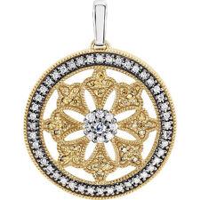 Natural Amarillo y Blanco Diamantes Círculo Colgante en 14K Oro ( 1/2 Ct. Tw