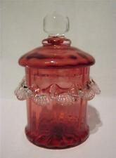Victorian Cranberry Glass Frilled Treat Jar with Lid