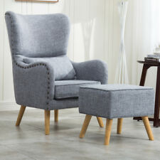 Occasional Padded Orthopedic Wing High Back Armchair Fabric Arm Chair +Footstool