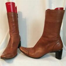 Costume National Cognac Brown Leather Spectator Boots 39.5