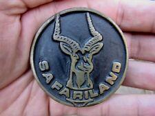 Vtg SAFARILAND Belt Buckle GUN Holsters Pistol BODY Armor VEST Bronze RARE VG++