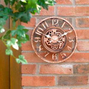 Large Wall Clock Metal Indoor Outdoor Decorative Garden Cog Design Bronze Effect