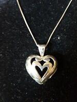 "Vintage HANDMADE ARTISAN Puffy HEART open work STERLING 925 Pendant 24""-necklace"